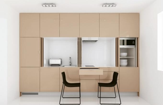 Kuchyň ze série S vyrobená na míru, vhodná do malých bytových jednotek, kompletně uzavíratelná, lakovaná povrchová úprava, bezúchytkový systém, Indeco, cena na dotaz, www.indeco.cz
