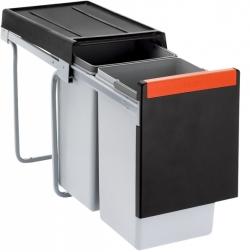 Dvoudruhový sorter Cube 30 pro minimální montážní prostor, objemy 1x 20 l a 1x 10 l, 25,3 x 46,7 x 42,3 cm, Franke, cena 1 936 Kč, www.franke.cz