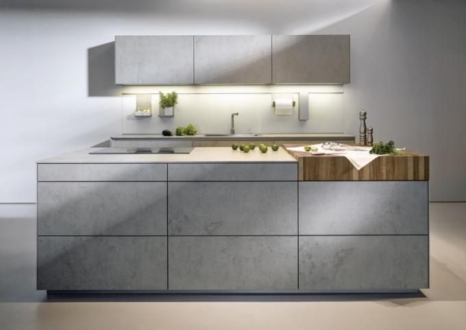Pracovní deska z keramiky -imitace pohledového betonu, produktová řada next125, Schüller, cena k doptání, www.next125.de