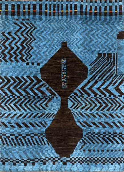 Kolekce Graffiti, designová řada Abstract and Plain nabízí moderní variaci na tradiční perské vlněné koberce typu Gabbeh (rozměry 178 x 239 cm, Zollanvari)