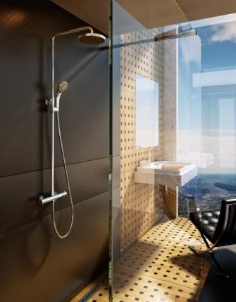 Duální sprchový systém s termobaterií, možnost úpravy hlavové i ruční sprchy do stran a dle výšky postavy, Ravak, cena 10 690 Kč, www.ravak.cz