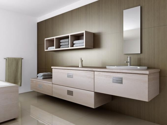 Koupelnový nábytek v provedení dub, dekor Sonoma, fóliovaná dvířka, Trachea, cena od 2 343 Kč/m2,www.trachea.cz