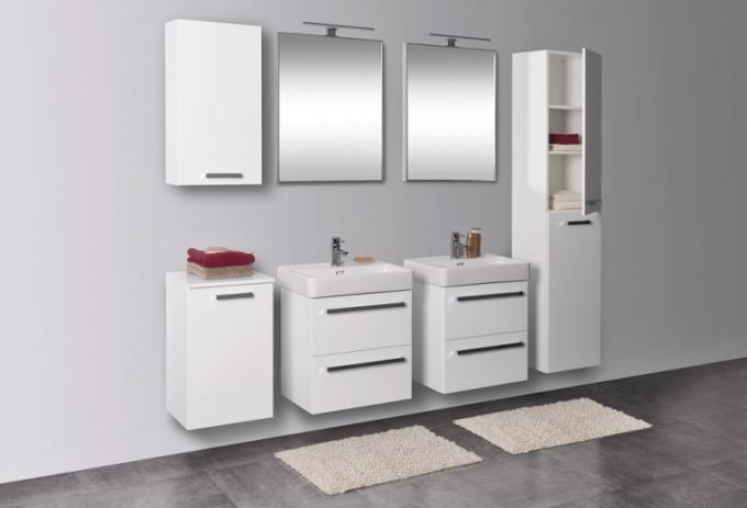 Koupelnové skříňky pod keramická umyvadla Laufen, provedení dvířkové nebo šuplíkové, vhodné do úzkých prostor, bílá barva, dekory dřeva, cena na dotaz, www.krajcar.cz
