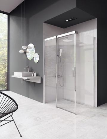 Sprchové dveře Matrix s pevnou stěnou, dveře a pevná stěna se vybírají z několika rozměrových variant, profily bílé, lesklé nebo matně kovové/ satin, bezpečnostní sklo, cena od 20 190 Kč
