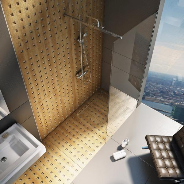 Sprchový kout Walk-In vytvořený s pomocí jedné skleněné stěny, cena skla od 8 000 Kč, cena kování 3 990 Kč