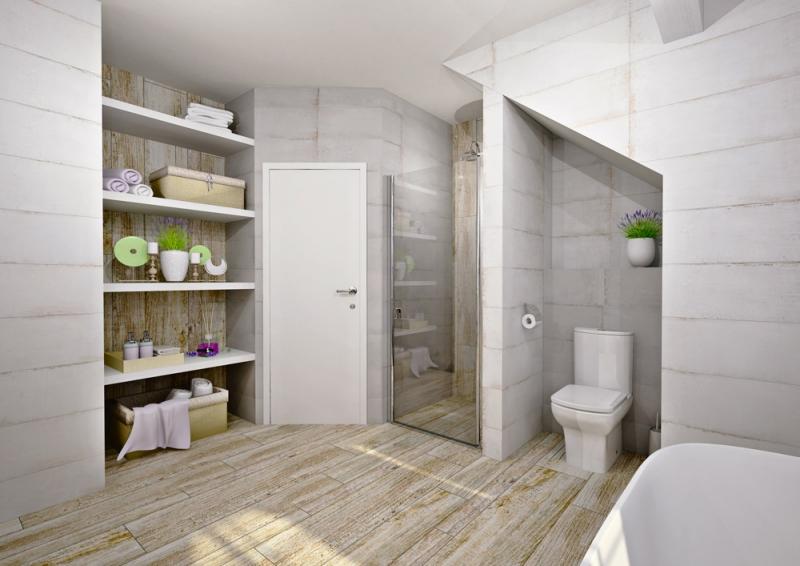 Pozice WC a sprchového koutu zůstává nezměněna. Nově navržené police poskytnou dostatečný a snadno přístupný úložný prostor