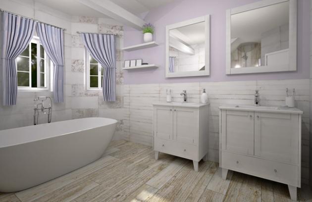 Světlé barvy, přírodní textury a lehká patina jsou znaky typické pro styl jižní Francie. Díky tomu může i tato koupelna působit vzdušně a přirozeně