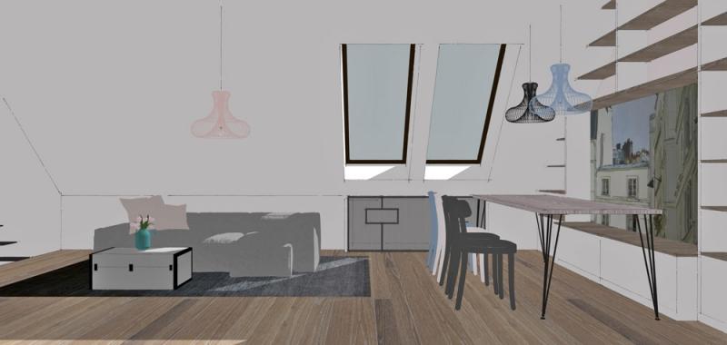 Další rozměr dává místnosti omyvatelná tapeta, nalepená za úložnou lavicí