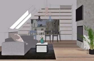 Aby prostor působil vzdušně, místo skříní slouží jako úložné prostory knihovna a skříňky vestavěné do čelní zdi