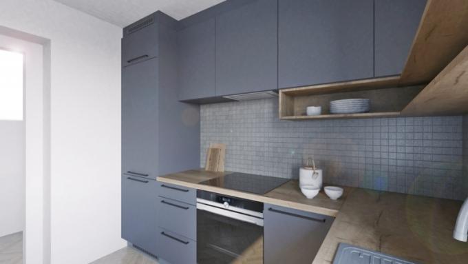 Oblíbená neutrální šedá barva povrchu kuchyně Velvet star dobře ladí s texturou v dekoru dřeva. Kuchyň je elegantní a nadčasová