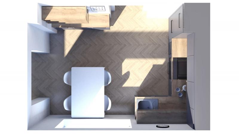 Dispozice kuchyňské linky zůstala nezměněna. Výměna místa pro dřez a varnou desku dovolila použít plně vestavný odsavač a kuchyň je nyní vybavena také myčkou