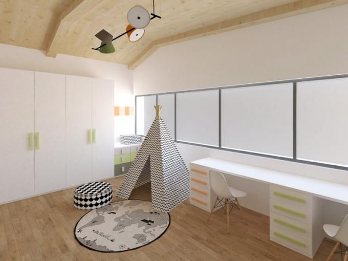Aby bylo jasno, že prostor patří klukům, vybavila ho designérka indiánským teepee, které se objevuje také na vzoru tapety