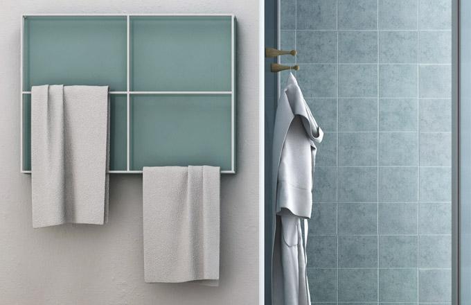 Radiátor Light (Scirocco) tvoří deska skonstrukcí zocelových trubek vnejrůznějších variacích kpohodlnému sušení ručníků, 79,7 x 59,7cm, cena nadotaz, www.sciroccoh.it