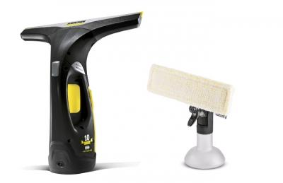 Aku stěrka Kärcher z limitované edice WV 2 Premium 10 Years Edition v černé barvě se žlutými a stříbrnými prvky, cena 1 990 Kč, www.karcher.cz