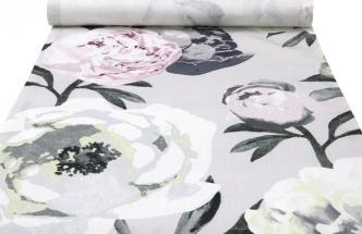 Běhoun Pioni, design Liina Harju, světle šedý, 100% bavlna, 43 x 160 cm, cena 655 Kč