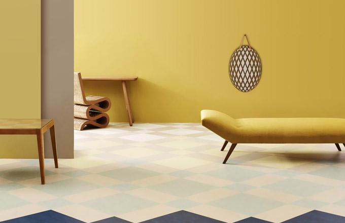 Marmoleum modular, design Thomas Eurlings, Forbo, dílce o rozměru 50 x 25 cm / 50 x 50 cm / 100 x 25 cm, cena 956 Kč/m2, WWW.FORBO-FLOORING.CZ
