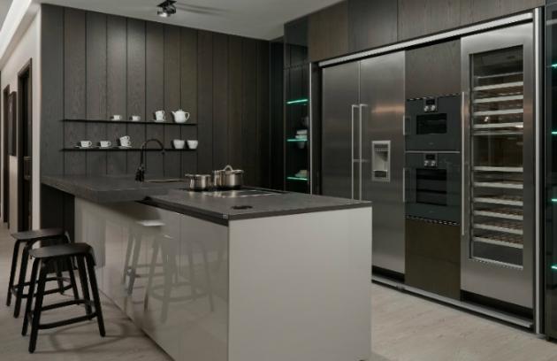 Luxusní prémiová kuchyně HANÁK, provedení dýha jasan carbon / lak šedá vysoký lesk  FOTO: HANÁK NÁBYTEK