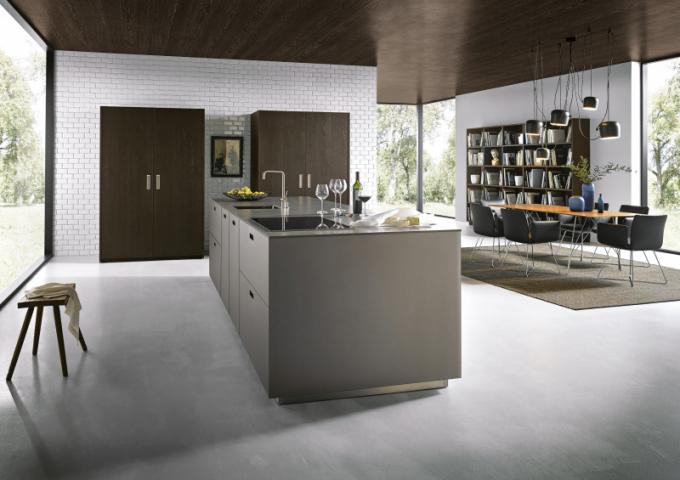 Povrch kombinace keramiky a dýhy z jedle, kuchyně Schüller, produktová řada next125, cena na dotaz, WWW.NEXT125.DE