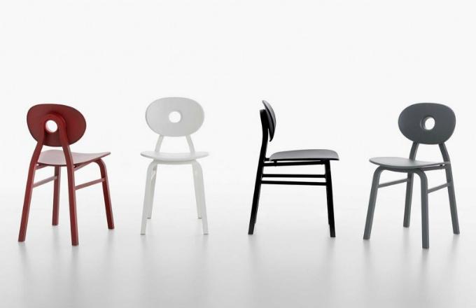 Židle Elipse (Zanotta) spojuje kvality funkčního průmyslového designu se silným skulpturálním výrazem. Čtvercová konstrukce z hliníkové slitiny je v příjemném kontrastu s měkkými oblými liniemi, kruhový otvor uprostřed opěradla usnadňuje uchopení židle a stává se charakteristickým prvkem, který umožňuje rychlý přesun, kamkoli vás zrovna napadne. Design Patrick Jouin, rozměry 41 × 79 × 54 cm, cena 10 851 Kč, WWW. PUNTODESIGN. CZ