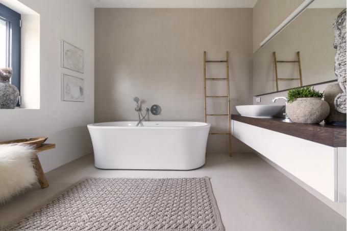 Ve všech koupelnách byl použit velkoformátový obklad 1 × 3 m a sanitární zařízení od exkluzivního výrobce Laufen (dodal MAAG CZ)