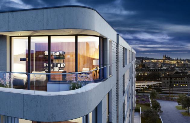 """""""Rezidence Churchill nabízí výjimečné bydlení pro ty, kteří ocení perfektní dostupnost do centra, atmosféru pražských Vinohrad a prémiovou kvalitu, kterou dům reprezentuje jak ve vlastních bytech, tak společných prostorách. Naleznete zde jak výjimečné prostorné byty, tak i zahradní apartmány a menší byty pro """"singles""""."""