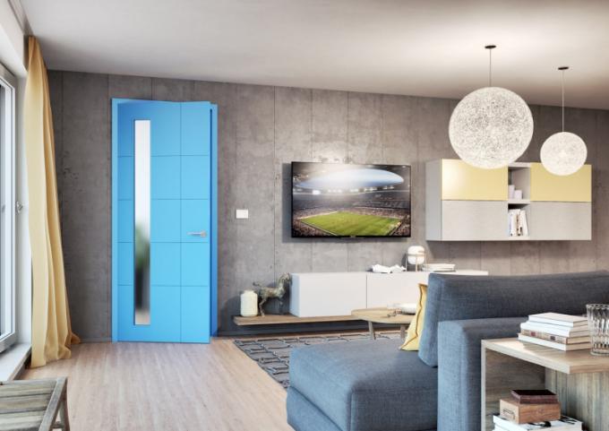 Nebojíte se sytých barev? Z dveří hned udělají důležitý designový prvek interiéru. Třeba z modelu REDE, který je typický vodorovnou a svislou drážkou. Dveře můžou být plné nebo s prosklením ve více variantách. Kromě modré je na výběr další škála barev. Cena dveří REDE 65 je 9 390 Kč bez DPH (bez kování a zárubně).