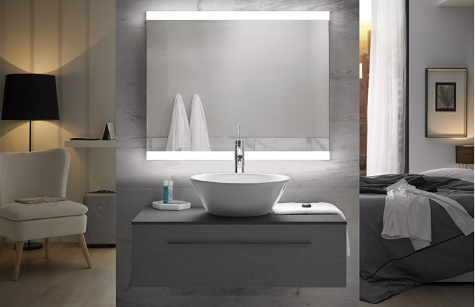 Zrcadlo Emma s LED osvětlením, rozměr 100 x 70 cm, cena 6 990 Kč, WWW. SIKO. CZ