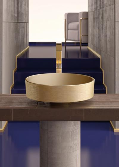 Umyvadlo Rho Sotto (Glass Design), plně probarvené sklo Pert, zlaté provedení, cena 43 052 Kč, WWW. STYLEIT2. CZ