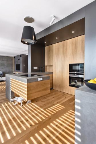 Na podlahu z dubového dřeva navazují korpusy kuchyňského ostrůvku i nábytku. Součástí modulu s kuchyní je skrytá spíž