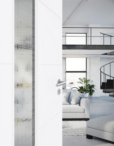 Dveře v novém odstínu - Lak Bílá exclusiv 9016  (Dveře PRÜM Royal 451, Bílá exclusiv 9016, výplňové sklo Panno)