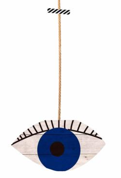 Nástěnná dekorace Eye Blue, borovicové dřevo a juta, 40 × 25 cm, délka provázku 85 cm, cena 1 149 Kč, WWW.WESTWING.CZ