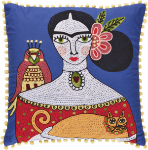 Ručně vyrobený potah na polštář z kolekce FridaKahlo(Ian Snow), 45 × 45 cm, cena 880 Kč, WWW.IANSNOW.COM