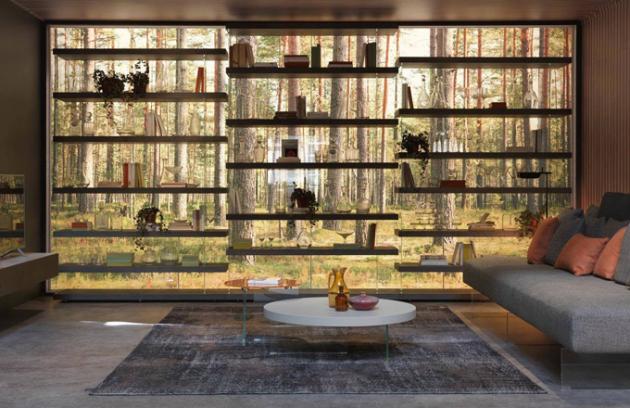 Air je zcela samonosná knihovna, a proto je ideální i pro použití ve středu místnosti.Kontrast masivních polic a skříněk a štíhlých, absolutně průhledných skleněných nosníků, vzbuzuje pocit, že se knihovna Air vznáší ve vzduchu.