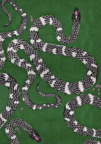 Ručně tkaný koberec Snake (Rug´Society), vlna a rostlinné hedvábí, 200 × 300 až 400 × 600 cm, cena na dotaz, WWW.RUGSOCIETY.EU