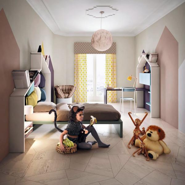 Dětský nábytkový program LagoLinea sestava polic Diagdinea, rozkladatelné křeslo Huggy a židle School (Lago), design Daniele Lago, MDF, modulární řešení, cena 205 196 Kč, WWW.LAGO.CZ