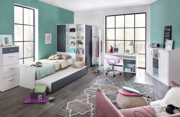 Dětský nábytkový program Joker (Jena nábytek), DTD materiál, antracit a bílá barva, omyvatelný povrch, cena 32 492 Kč, WWW.JENANABYTEK.CZ