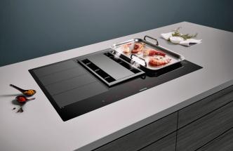 Indukční sklokeramická varná deska EX875LX34E (Siemens), senzor PerfectCook ready, odsávání, cena 86 990 Kč, WWW. SIEMENS-HOME. BSH-GROUP. COM/CZ/