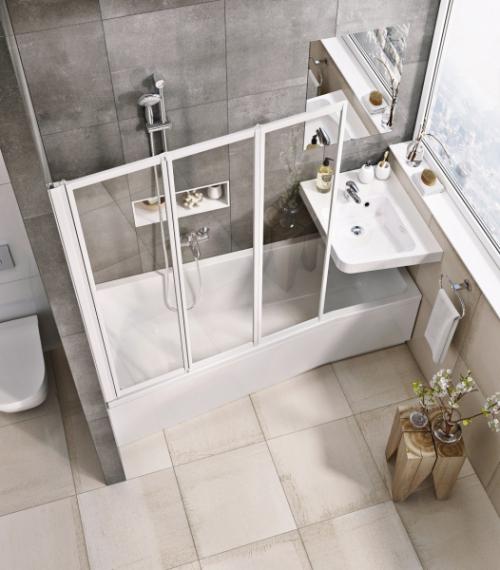 Koncept pro malé koupelny (BeHappy), využití plochy běžné vany pro sprchování, koupání i mytí rukou v umyvadle, cena vany od 8 190 Kč, WWW. RAVAK. CZ