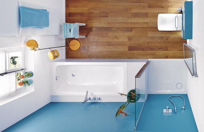 Koupací vana ze série Cayono Duo, extra plochá sprchová vanička v úrovni podlahy ze série Cayonoplan, dostupné v různých matných barvách, lze opatřit protiskluzovou úpravou, cena na dotaz, WWW. KALDEWEI. CZ