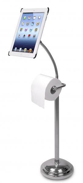 Také vám někdy přijde, že jediné místo, kde si můžetevklidu přečíst zprávy nebo knihu, je toaleta? Obzvlášť rodiče malých dětí nejspíš vědí, o čem je řeč. Šanci stát se nezbytnou výbavou oné místnosti má proto stojánek na iPad 2/3/4 s držákem na toaletní papír. Šikovnou pomůcku jsme viděli na WWW. AMAZON. COM