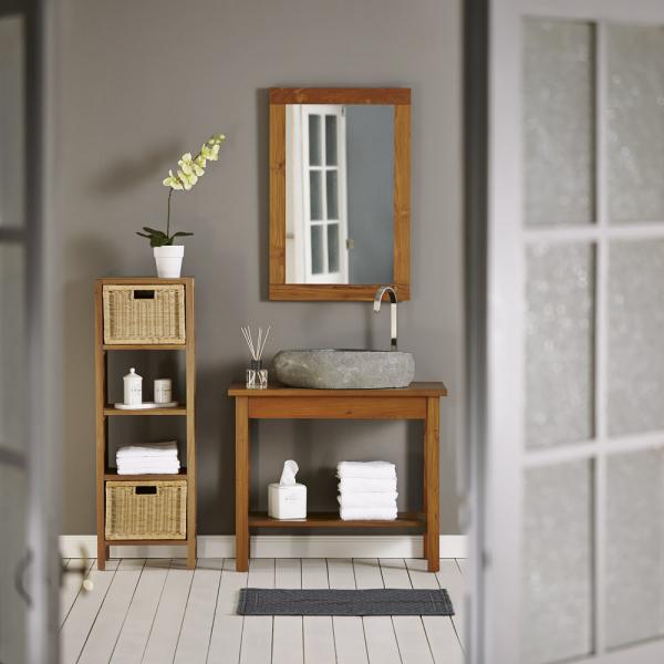 Stůl pod umyvadlo (série Thalassa), FSC certifikované týkové dřevo, voděodolné, úložný prostor, lze přikoupit další doplňky, cena 8 990 Kč, WWW. BUTLERS. CZ