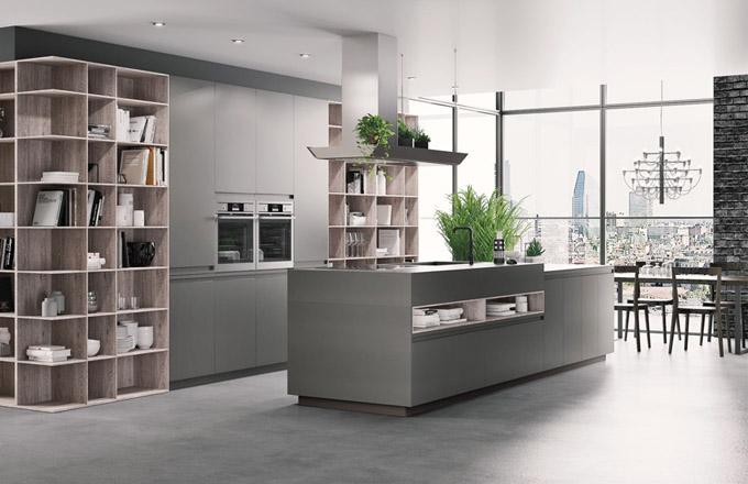 Kuchyňský koncept BVolume Loft s integrovanými knihovnami (Berloni), lak povrchová úprava mat a dřevo, ultratenké profily, cena na dotaz, WWW. SALONCARDINAL. COM