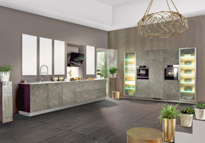 Kuchyňská sestava Carrara (Bauformat), mramor antracit, cena 11 446 Kč/bm, WWW. ORESI. CZ