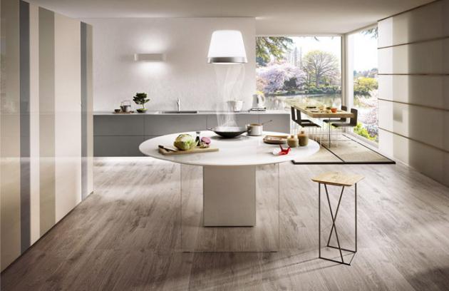 Kuchyňský koncept Air One (Lago), ostrůvek Air Kitchen (Lago), pracovní deska a čelní plochy tvrzené sklo (lesklé), O 180 cm, cena 189 410 Kč, spodní skříňky 36e8 zavěšené na zdi, tvrzené sklo (matné), 368 × 95 × 61 cm, cena 224 967 Kč, kuchyňská skříň N. O. W. (Lago), lakované tvrzené sklo (matné), 389 × 227 × 67 cm, cena 226 548 Kč, WWW. LAGO. CZ