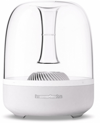 Přenosný reproduktor Aura Plus (Harman Kardon), zvuk v úhlu 360°, Bluetooth, wi-fi, AirPlay, Spotify, DLNA, dotykový ovladač hlasitosti, rozměr 22 × 27 cm, cena 10 990 Kč, WWW.MALL.CZ