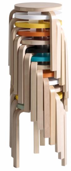 Stohovatelná stolička 60 (Artek), design Alvar Aalto, výška 44 cm, O 33 cm, březová překližka a masivní dřevo, cena 5 903 Kč, WWW. DESIGNVILLE. CZ