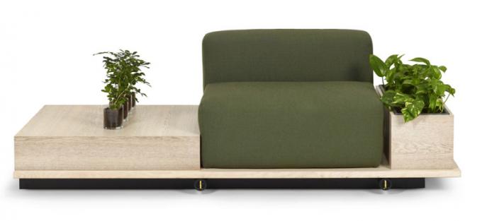 Sofa Meet (Offecct), design Fattorini + Rizzini + Partners, dřevěná základna umožňuje variabilní sestavy zahrnující křesla, stolky a květináče v různém počtu a několika rozměrech, šířka vyobrazené varianty 193 cm, cena na dotaz, WWW. OFFECCT. COM