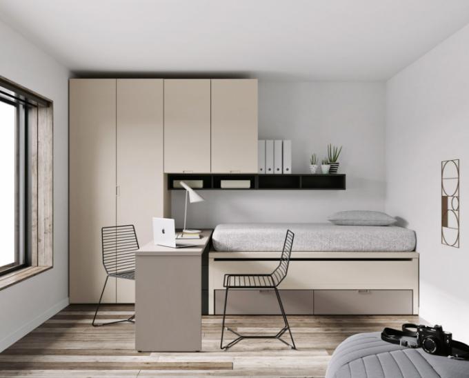 Modulární sestava Infinity 47 (JJP) zahrnuje prostornou šatní skříň, psací stůl, postel s výsuvným lůžkem pro hosty a otevřené úložné prostory, cena 98 200 Kč, WWW. ONESPACE. CZ