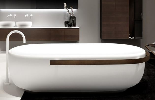 Hra se světlem a stínem posloužila jako inspirace pro designéry Simoneho Bonanniho a Attilu Veresse při tvorbě nové kolekce zařizovacích předmětů Homey (Falper). Kolekce obsahuje tři produkty, které si svým designem přímo žádají o instalaci do prostoru. Aktuálně velmi oblíbený materiál Cristalplant zdobí kovové detaily, které vytvářejí pomyslný rám opticky jednoduchých útvarů. Cena vany 208 200 Kč, cena umyvadla 89 400 Kč, WWW.DESIGNCLUB.CZ