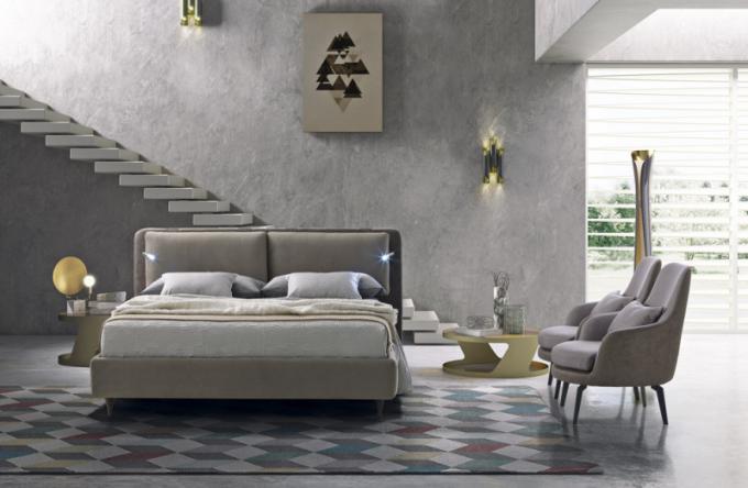 Dvoulůžková postel Cortina s integrovaným nepřímým zdrojem osvětlení (LeComfort), možnost výběru čalounění, cena na dotaz, WWW. LINO. CZ